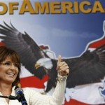 Former Governor of Alaska Sarah Palin gives a thumbs up as she speaks to supporters at a rally organized by the Tea Party of America in Indianola, Iowa. (REUTERS/Jim Young)