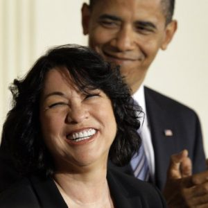 In this May 26, 2009, file photo, then-Supreme Court nominee Judge Sonia Sotomayor beams as President Barack Obama applauds her during a White House East Room ceremony in Washington to announce her nomination. Obama is moving at a historic pace to try to diversify the nation's federal judges: Nearly three of every four people he's had confirmed to the federal bench are women or minorities, the first president ever who hasn't selected a majority of white males for lifetime judgeships. (AP Photo/Alex Brandon, File)