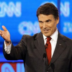 Republican presidential candidate Texas Gov. Rick Perry gestures during a Republican presidential debate Monday, Sept. 12, 2011, in Tampa, Fla. (AP Photo/Mike Carlson)