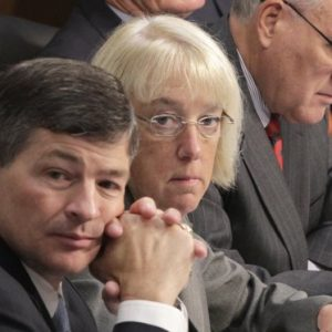Joint Select Committee on Deficit Reduction Co-Chairs Rep. Jeb Hensarling, R-Texas, left, and Sen. Patty Murray, D-Wash., center, listen as Congressional Budget Office Director Douglas Elmendorf testifies before the committee on Capitol Hill in Washington, Tuesday, Sept. 13, 2011. At right is committee member, Senate Minorty Whip Jon Kyl of Ariz., (AP Photo/J. Scott Applewhite)