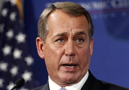 Speaker of the House John Boehner addresses the Economic Club in Washington. (REUTERS/Kevin Lamarque)