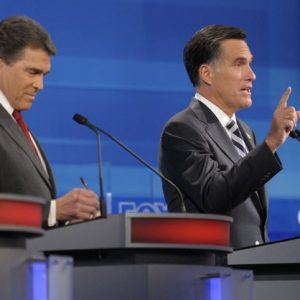 GOP Presidential contenders Rick Perry (left) and Mitt Romney (AP Photo/Phelan M. Ebenhack, Pool)