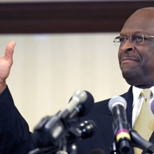 Republican presidential candidate Herman Cain speaks after meeting with doctors attending the Docs4PatientCare conference in Alexandria, Va., Wednesday.. (AP Photo/Cliff Owen)