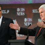 Republican presidential candidates Newt Gingrich, left, speaks as Mitt Romney, listens during the CBS News/National Journal foreign policy debate. (AP Photo/Richard Shiro)