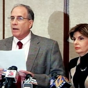 Victor Zuckerman at press conference with attorney Gloria Allred (ABC News)