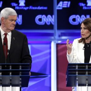 Newt Gingrich and Michele Bachmann in GOP debate (AP Photo/Evan Vucci)