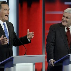 Mitt Romney and Newt Gingrich spar at debate (AP)