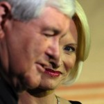 Newt Gingrich and current wife Calista.  Will the third time be a charm? (Kevin Wolf/AP)