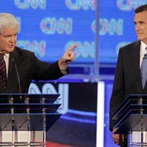 Newt Gingrich and Mitt Romney in debate (Reuters/Scott Audette)