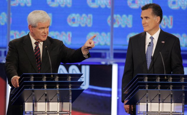 Newt Gingrich and Mitt Romney in debate (Reuters/Scott Audette)