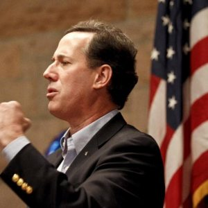 Santorum celebrates three-state sweep (AP Photo/Chris Carlson)