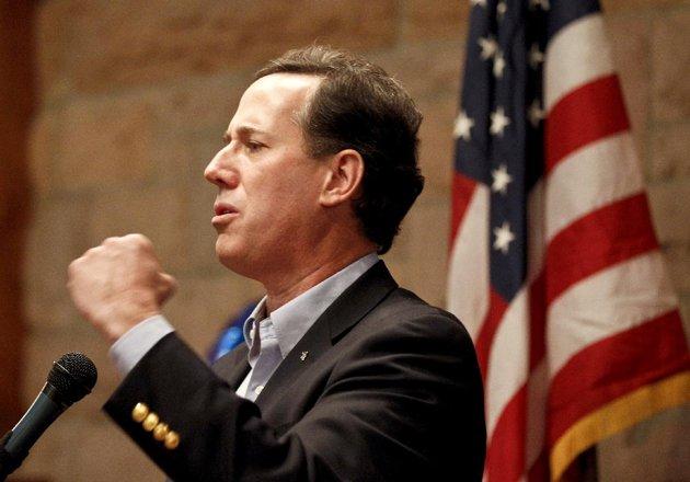 Santorum celebrates three-state sweep (AP Photo/Chris Carlson)