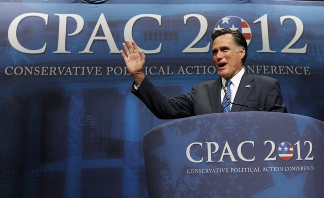 Mitt Romney at CPAC (Republican front-runner Mitt Romney bounced back from midweek losses in three states to win the Maine presidential caucuses, the state's Republican Party announced on Saturday. With 95 percent of the vote counted, results of the non-binding straw poll showed the former Massachusetts governor with 39 percent, just ahead of libertarian Texas Congressman Ron Paul with 36 percent. The outcome was a comeback for Romney, who unexpectedly lost to former U.S. Senator Rick Santorum in Missouri, Minnesota and Colorado on Tuesday. Romney visited Maine on Friday and Saturday to meet voters and help energize the get-out-the-vote drive. Earlier on Saturday he won a key straw poll of conservative activists. (Reuters)