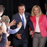 Mitt Romney and wife Ann greet supporters after Tuesday wins (AP Photo/Gerald Herbert)