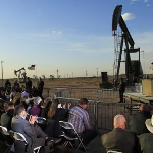 With oil pump jacks as a backdrop, President Barack Obama speaks at an oil and gas field on federal lands Wednesday, March 21, 2012, in Maljamar, N.M. (AP Photo/Ross D. Franklin)