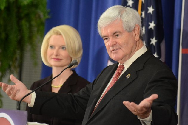 Newt Gingrich and wife: What did he and Mitt discuss? (AP Photo/The Daily Town Talk, Tia Owens-Powers)