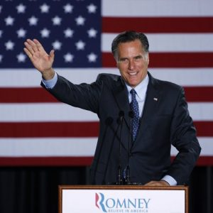 Republican Presidential candidate, former Massachusetts Gov. Mitt Romney declares victory in the Wisconsin presidential primary, Tuesday, April 3, 2012, at the Grain Exchange in Milwaukee. (AP Photo/M. Spencer Green)
