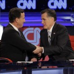 Rick Santorum and Mitt Romney: Time to kiss and make up? (AP Photo/Jae C. Hong, File)