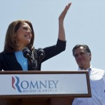 Michele Bachmann campaigns with Mitt Romney (REUTERS/Mark Makela)