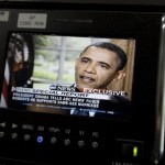 President Barack Obama is seen on a monitor in the White House briefing room in Washington, Wednesday, May 9, 2012. President Barack Obama told an ABC interviewer that he supports gay marriage. (AP Photo/Carolyn Kaster)