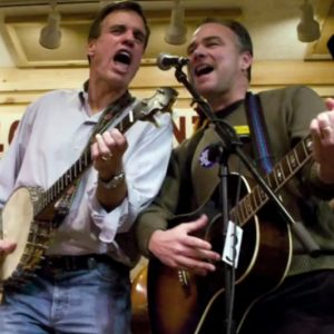 Virginina Sen. Mark Warner (left) and Senate hopeful Tim Kaine jam on the stage of the Friday night Jamboree in Floyd, Virginia (Doug Thompson/Capitol Hill Blue)