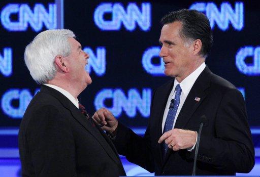 Newt Gingrich and Mitt Romney (AP Photo/Matt Rourke, File)