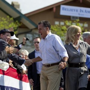 "The ""new"" Romney on the campaign trail. (AP Photo/Evan Vucci)"