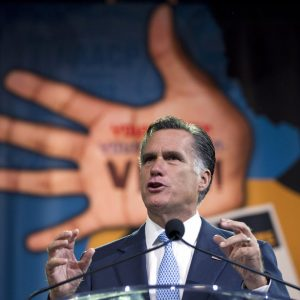 Republican presidential candidate, former Massachusetts Gov. Mitt Romney speaks to the NAACP annual convention in Houston, Texas. 