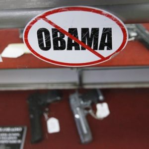 A sticker at the Rocky Mountain Guns and Ammo store in Parker, Colorado.