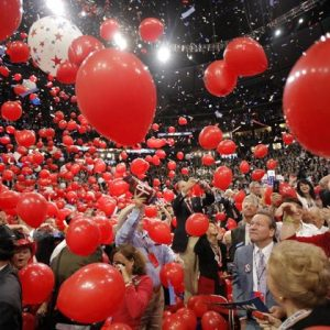 Balloons fall on the floor at the 2008 Republican Convention.  (AP Photo/Jae C. Hong)