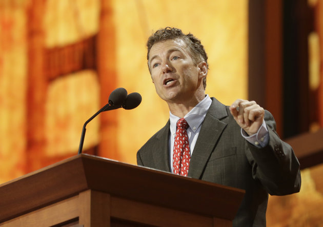 Sen. Rand Paul, R-Ky., addresses the Republican National Convention in Tampa, Fla., on Wednesday. (AP Photo/Charles Dharapak)