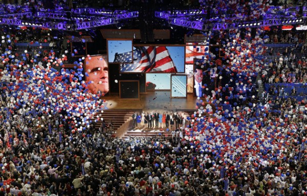 Republican presidential nominee Mitt Romney and vice presidential nominee Rep. Paul Ryan are join on the stage by their families at the end of the Republican National Convention Thursday.  (AP Photo/Patrick Semansky