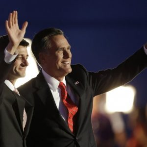 Republican presidential nominee Mitt Romney and Republican vice presidential nominee, Rep. Paul Ryan, left, wave following Romney's speech during the Republican National Convention in Tampa, Fla., on Thursday, Aug. 30, 2012.
