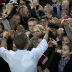 President Barack Obama greets people in the crowd after speaking at a campaign event at the Summerfest Grounds at Henry Maier Festival Park, Saturday, Sept. 22, 2012, in Milwaukee. 