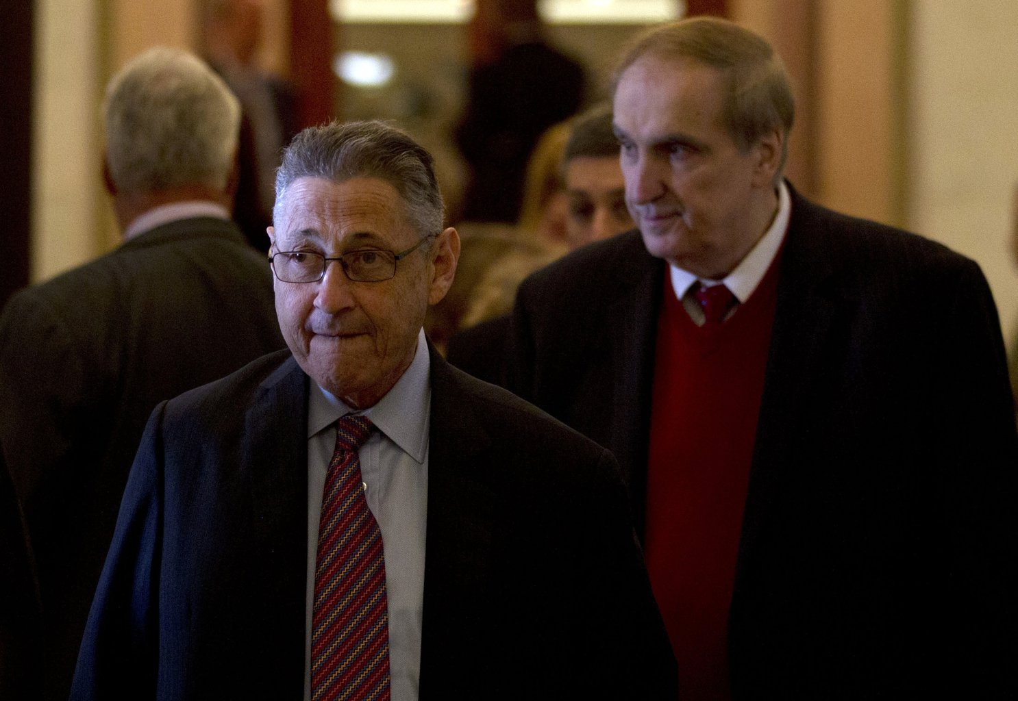 Assembly Speaker Sheldon Silver, D-Manhattan, left, walks with Assemblyman Vito Lopez, D-Brooklyn, to an affordable housing news conference at the Capitol in Albany, N.Y. Accusations of sexual harassment that emerged over the summer have unraveled in public before a state ethics committee, revealing more sexual misconduct accusations against Lopez and a secret six-figure payoff to the accusers with taxpayer money that was approved by Silver. (AP Photo/Mike Groll, File)