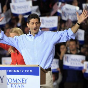 Republican Vice Presidential candidate Paul Ryan and his wife Janna wave as they arrive to a campaign event, Saturday, Sept. 29, 2012 in Derry, N.H. 