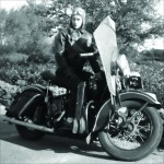 Ethel McPeak and her Harley-Davidson in 1946