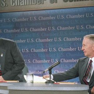 House Speaker Newt Gingrich of Ga., left, and Ross Perot take part in a national satellite town hall meeting to discuss Medicare at the U.S. Chamber of Commerce in Washington in 1995 