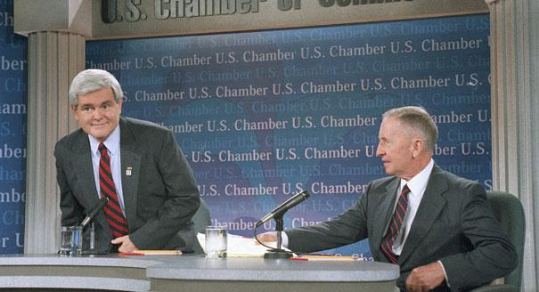 House Speaker Newt Gingrich of Ga., left, and Ross Perot take part in a national satellite town hall meeting to discuss Medicare at the U.S. Chamber of Commerce in Washington in 1995  (AP File Photo)