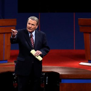 Moderator Jim Lehrer addresses the audience before the first presidential debate at the University of Denver, Wednesday, Oct. 3, 2012, in Denver. 