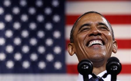 President Barack Obama speaks during a campaign rally in Fairfax, Virginia October 5, 2012.  (REUTERS/Kevin Lamarque)