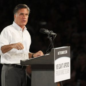 Republican presidential candidate and former Massachusetts Gov. Mitt Romney speaks during a campaign rally in Apopka, Fla. on Saturday, Oct. 6, 2012. 