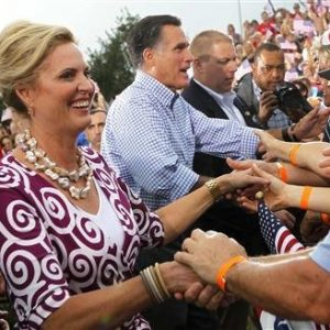 Republican presidential nominee Mitt Romney and his wife Ann shake hands with supporters after a campaign rally in Port St. Lucie, Florida October 7, 2012. 