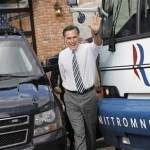 Republican presidential nominee Mitt Romney waves after speaking at a campaign stop at Bun&#039;s Restaurant in Delaware, Ohio October 10, 2012. 