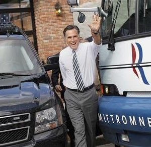 Republican presidential nominee Mitt Romney waves after speaking at a campaign stop at Bun's Restaurant in Delaware, Ohio October 10, 2012.  (REUTERS/Shannon Stapleton)