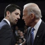 Republican vice-presidential nominee Paul Ryan and U.S. Vice President Joe Biden (R) chat at the conclusion of the U.S. vice presidential debate in Danville, Kentucky, October 11, 2012. (REUTERS/Michael Reynolds/POOL)