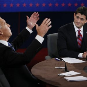 Vice President Joe Biden and Republican vice presidential nominee Rep. Paul Ryan of Wisconsin participate in the vice presidential debate at Centre College, Thursday, Oct. 11, 2012, in Danville, Ky. 