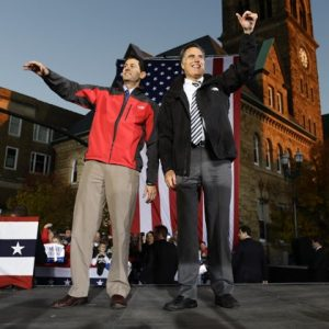 Associated Press/Charles Dharapak - Republican presidential candidate and former Massachusetts Gov. Mitt Romney and Republican vice presidential candidate, Rep. Paul Ryan, R-Wis., campaign in Lancaster, Ohio, Friday, Oct. 12, 2012. 