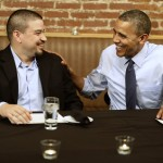 "President Barack Obama meets with Mario Orosa, left, of North Canton, Ohio, and other winners of the ""Dinner With Barack"" campaign fundraising contest at Smith Commons Dining Room and Public House in Washington, on Friday, Oct. 12, 2012. (AP Photo/Jacquelyn Martin)"