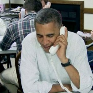 President Barack Obama works the phone